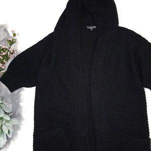 Vince Alpaca Wool Waffle Knit Hooded Puff Sleeve